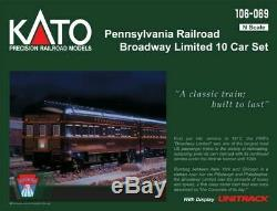 KATO 106069 N SCALE Pennsylvania RR Broadway Limited 10 Car Set 106-069 NEW