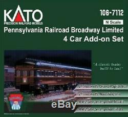 KATO 1067112 N SCALE 4 CAR Pennsylvania RR Broadway Limited Add On Set 106-7112