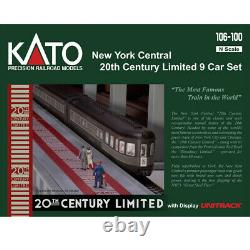 Kato 106-100 20th Century Limited Passenger Car Set New York Central (9) N Scale