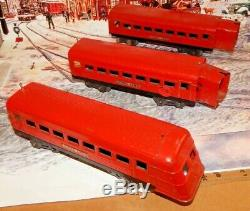 Lionel Lines Pre War O Gauge Set Of 3 Articulated Beaver Tail Passenger Cars