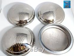 (Set/4) Stainless Hubcaps with Ford Logo Script For 1946 Ford Passenger Car